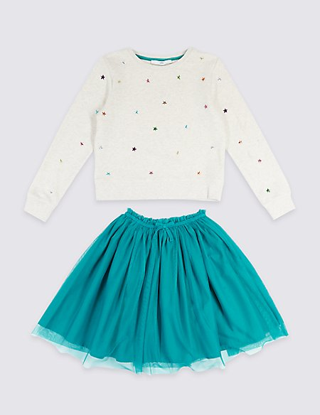2 Piece Sweat Top & Skirt Outfit (3-14 Years)
