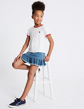 2 Piece T-Shirt & Denim Skirt with StayNEW™ (3-16 Years), DENIM, catlanding