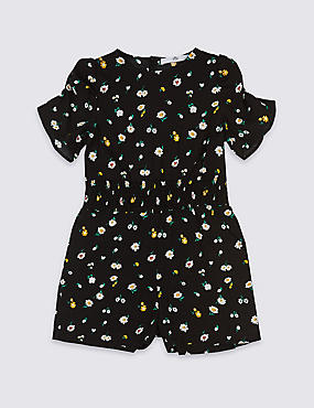 Ditsy Print Playsuit (3-16 Years), BLACK MIX, catlanding