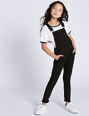 Cotton Dungarees with Stretch (3-16 Years), BLACK DENIM, catlanding