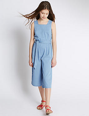 Pure Cotton Denim Belted Jumpsuit (5-14 Years)