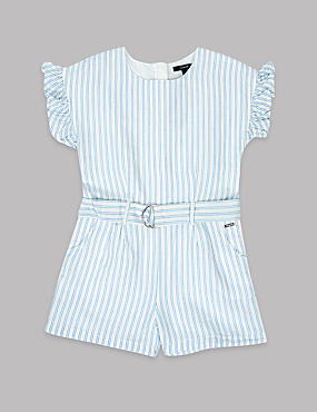 Frill Sleeve Striped Playsuit (3-16 Years)