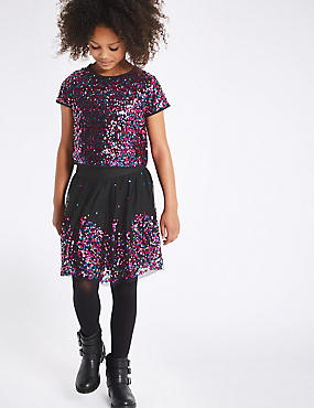 Sequin Top with Skirt (3-14 Years)
