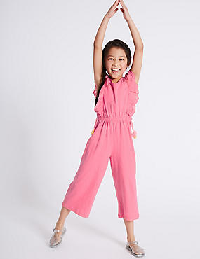 Frill Pure Cotton Jumpsuit (3-16 Years), PINK MIX, catlanding