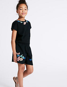 2 Piece Top & Shorts Outfit (3-16 Years), BLACK MIX, catlanding