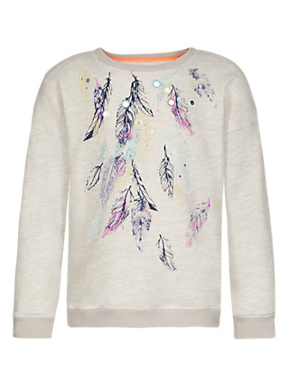 Feather Print Sweat Top Clothing