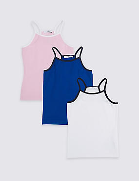 3 Pack Cotton Vest Tops with Stretch (3-16 Years) , MULTI, catlanding