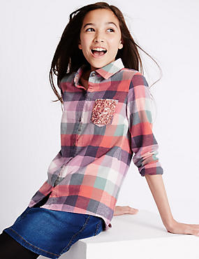 Pure Cotton Checked Shirt (5-14 Years)