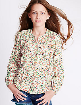 Long Sleeve Spotted Blouse (5-14 Years)