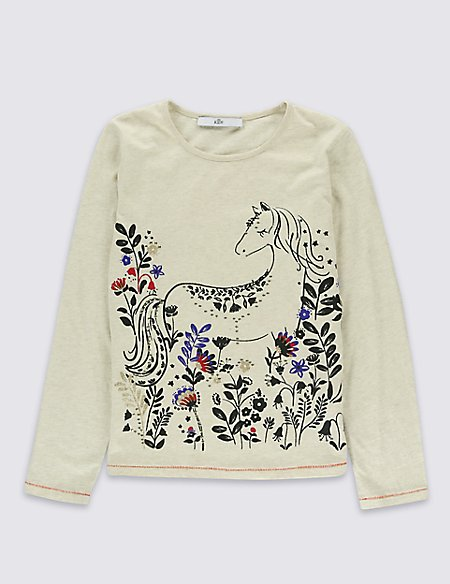 Pure Cotton Horse Print T-Shirt (5-14 Years)
