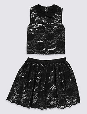 2 Piece Sleeveless Lace Top & Skirt Outfit (5-14 Years)