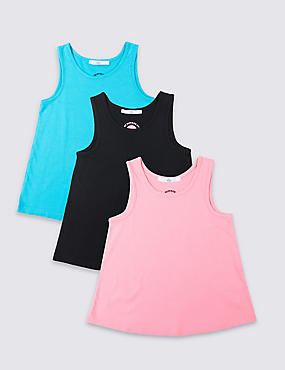 3 Pack Cotton Rich Vest Top (3-16 Years)