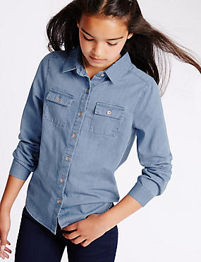 Long Sleeve Denim Shirt with StayNEW™ (3-14 Years)