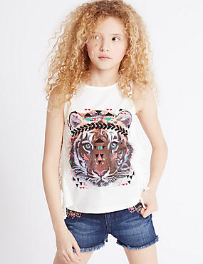 Pure Cotton Animal Print Vest Top (3-14 Years)
