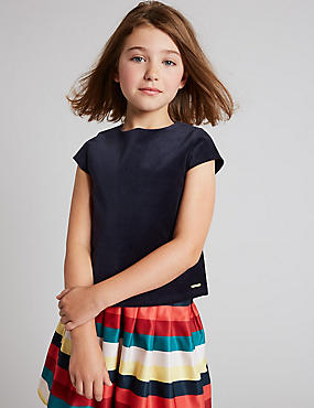 Cotton Velvet Top with Stretch (3-14 Years)