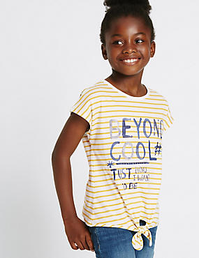 Pure Cotton Striped Front Tie Top (3-14 Years)