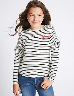 Frill Sleeve Striped Top (3-14 Years)