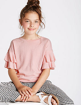 Crinkle Frill Sleeve Top (3-14 Years)