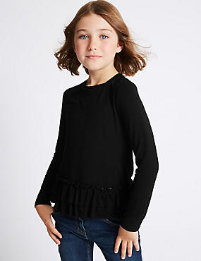 Frill Hem Long Sleeve Top (3-14 Years)