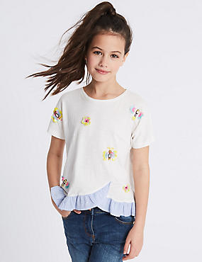Pure Cotton Sequin Frill Hem Top (3-16 Years)