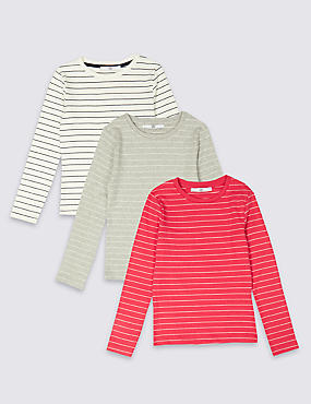 3 Pack Cotton Tops with Stretch (3-16 Years), MULTI, catlanding