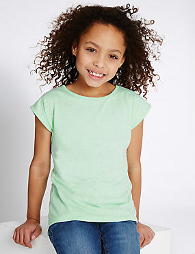 Dipped Hem Cap Sleeve Top (3-14 Years)