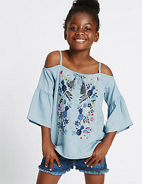 Embroidered Cold Shoulder Blouse (3-14 Years)