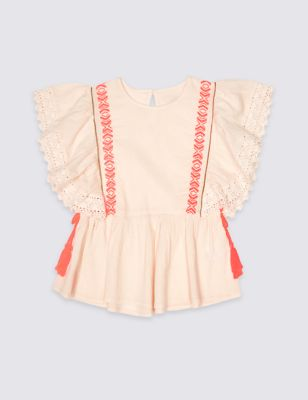Tassel Pure Cotton Top (3 16 Years) by Marks & Spencer