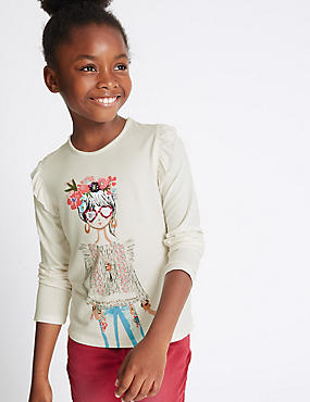 Embellished Long Sleeve Top (3-14 Years)