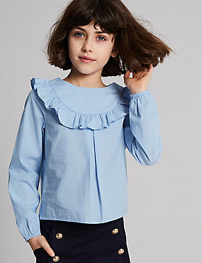 Pure Cotton Frilled Blouse (3-16 Years)