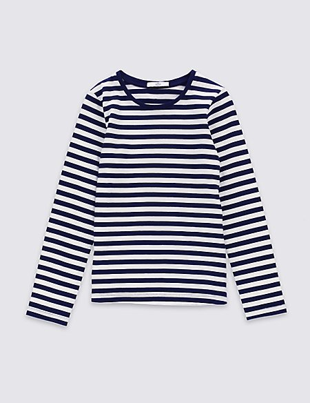 Pure Cotton Striped T-Shirt With StayNEW™ (3-14 Years)