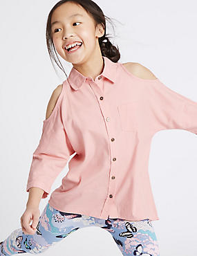 Cotton Blend Cold Shoulder Shirt (3-14 Years)