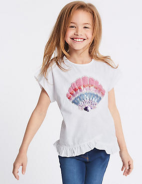 Pure Cotton Shell Sequin Top (3-16 Years)