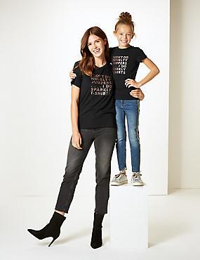 Mini Me Slogan T-Shirt (3-16 Years), CHARCOAL, catlanding