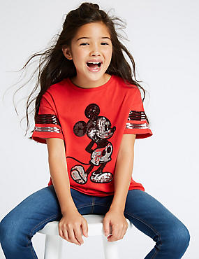 Mickey Mouse™ Pure Cotton T-Shirt (3-16 Years), RED, catlanding