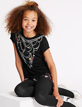 Short Sleeve Necklace Top (5-14 Years)