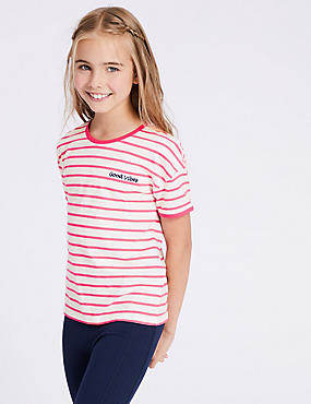 Pure Cotton Striped Top (3-16 Years), PINK MIX, catlanding