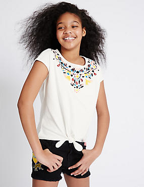 Pure Cotton Necklace Sequin Top (3-14 Years)