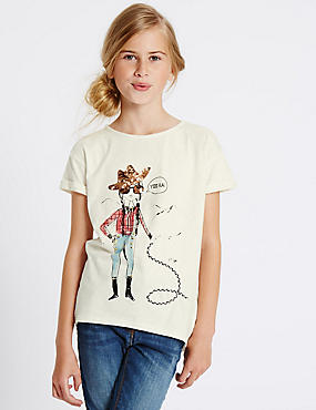 Cotton Rich Short Sleeve Top (3-14 Years)