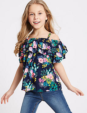 Floral Print Bardot Top (3-16 Years)
