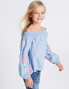 Denim Embroidered Bardot Top (3-16 Years)