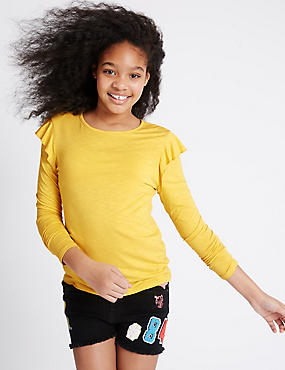 Frill Crew Neck Jersey Top (3-14 Years)