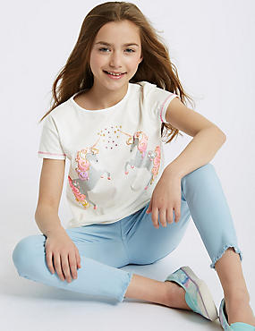 Pure Cotton Unicorn Top (3-16 Years)