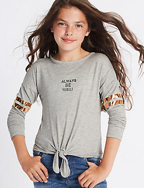 Tie Front Long Sleeve Top (3-14 Years)