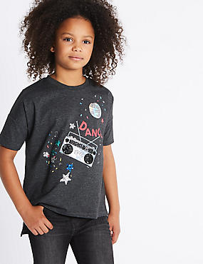 Cotton Blend Short Sleeve Top (3-14 Years)