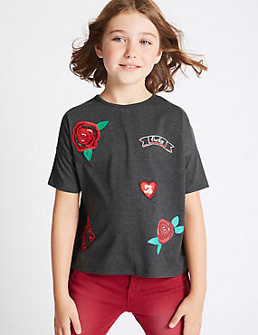Cotton Blend Crew Neck Top (3-14 Years)