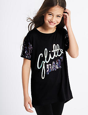 Short Sleeve Glitter Top (3-14 Years)