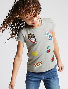 Cap Sleeve Sequin T-Shirt (3-14 Years)