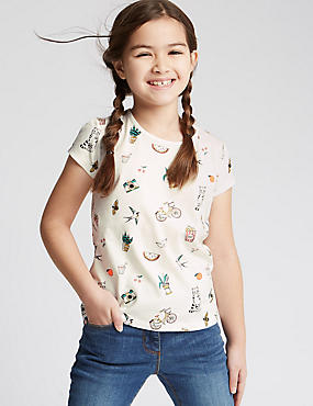 Pure Cotton All Over Print T-Shirt (3-14 Years)
