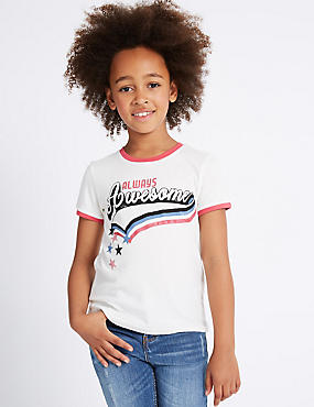 Pure Cotton Short Sleeve Top (3-14 Years)